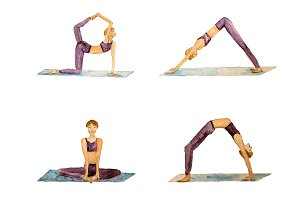 Watercolor yoga