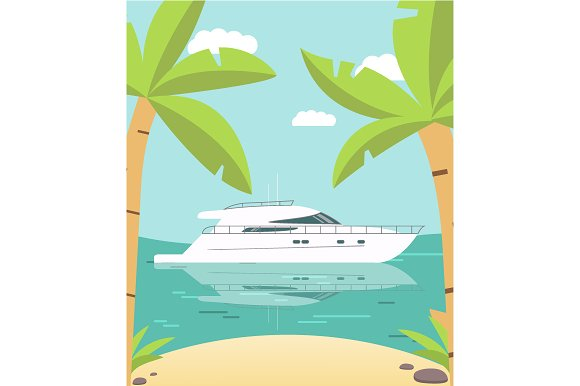 Palm Trees And Yacht Vector