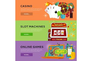 Set Of Gambling Vector Banners In Flat Design
