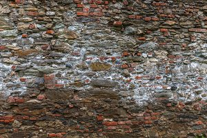 Old worn brick and stone wall