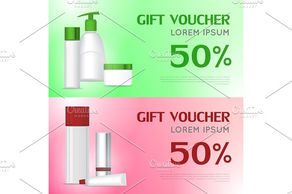 Gift Voucher Cosmetic Template Certificate Coupon