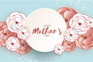Happy Mother's Day Greeting card. White Coffee Paper cut Flower. Circle Frame. Space for text.