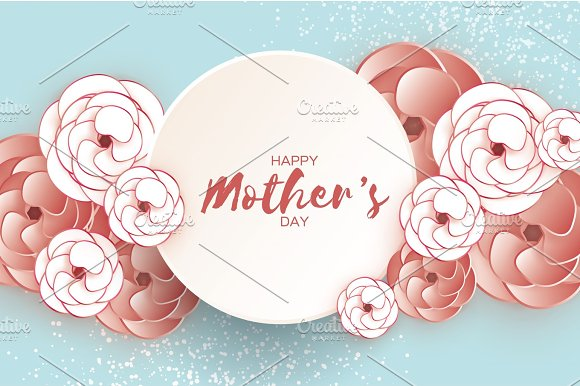 Happy Mother's Day Greeting Card White Coffee Paper Cut Flower Circle Frame Space For Text