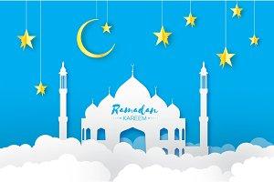Blue Ramadan Kareem Greeting card.. Arabic window Mosque, clouds, gold stars. Paper cut style. Arabesque pattern. Crescent Moon. Vector