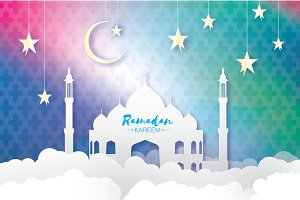 Ramadan Kareem Greeting card.. Arabic window Mosque, clouds, white stars. Paper cut style. Arabesque pattern. Origami Crescent Moon. Vector