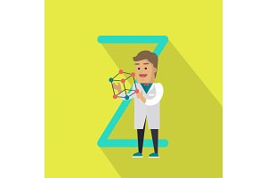 Science Alphabet Concept In Flat Design