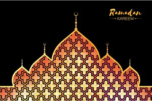 Ramadan Kareem gold mosque for greeting card background