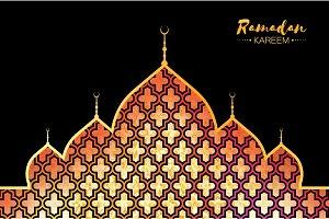 Ramadan Kareem gold mosque for greeting card background