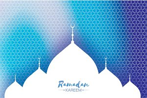 Blue Ramadan Kareem Greeting card.. Arabic window Mosque. Paper cut style. Arabesque pattern. Vector