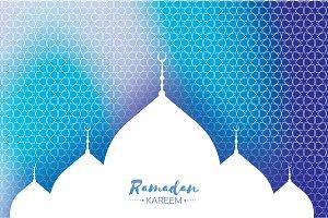 Blue Ramadan Kareem Greeting card.. Arabic window Mosque. Paper cut style. Arabesque pattern. Vector