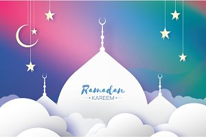 Ramadan Kareem Greeting card. Arabic window Mosque, clouds, white stars. Paper cut art style. Arabesque pattern. Origami Crescent Moon. Vector