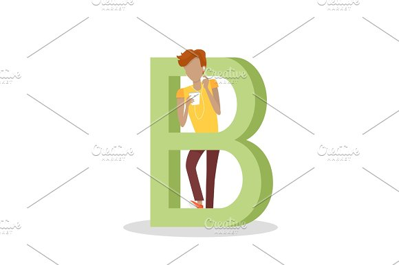 B Letter And Boy Listens To Music On Mobile Phone