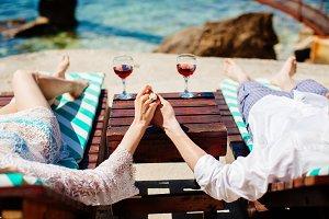 honeymoon couple relax on beach
