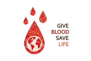 World Blood Donor Day banner with red glitter blood drop as donation concept