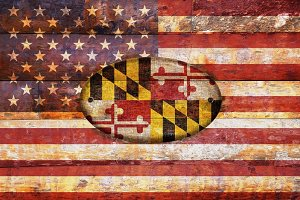USA and Maryland flags.