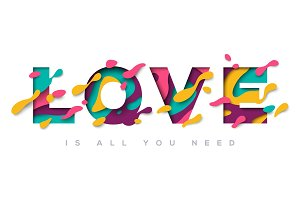 Love typography design with abstract shapes