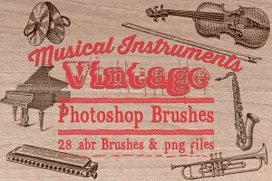 Vintage Music Instruments Brushes
