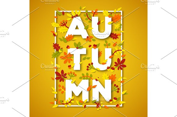Autumn Typography Design With White Paper Cut Text