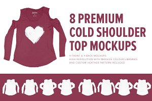 8 Premium Cold Shoulder Top Mockups