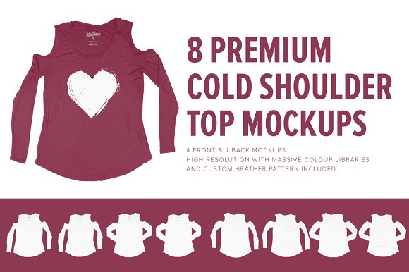 8 Premium Cold Shoulder Top-Graphicriver中文最全的素材分享平台