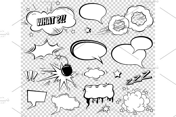 Comic Speech Bubbles Set Wording Sound Effect Design For Background Strip Book Bang Cloud Pow And Cool Exclamation Bomb