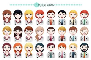 24 x multi-ethnic medical avatar
