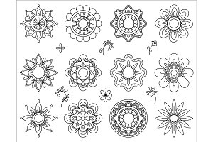 Set of flower mono line icons. Thin line blend design elements collection. Cute little flowers. Simple set of floral signs. Vector illustration