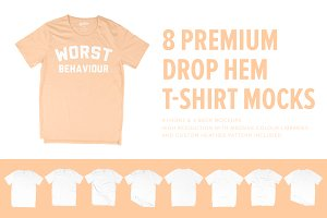 8 Premium Drop Hem T-Shirt Mockups