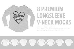 8 Girl's Longsleeve V-Neck Mockups