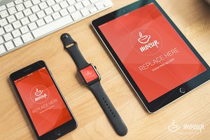"PSD Mockup iPhone, Watch, iPad ""BO"""