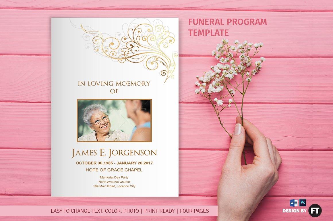 funeral program template flower brochure templates creative market