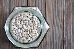 Glass pot with beans