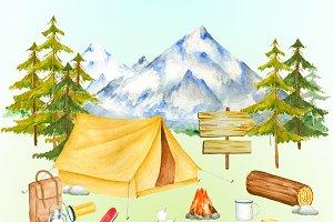 Watercolor camping item clipart