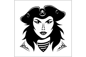 Girl Pirate - vector illustration.