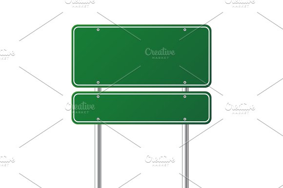Road Green Traffic Sign Blank Board With Place For Text.Mockup Isolated Information Sign Direction Vector Illustration