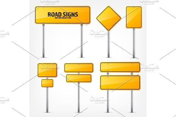 Road Yellow Traffic Sign Blank Board With Place For Text.Mockup Isolated Information Sign Direction Vector Illustration