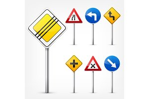 Road signs collection isolated on white background. Road traffic control.Lane usage.Stop and yield. Regulatory signs.