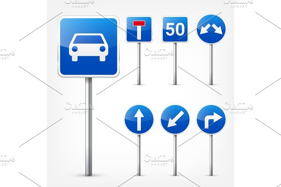 Road Signs Collection Isolated On White Background Road Traffic Control.Lane Usage.Stop And Yield Regulatory Signs