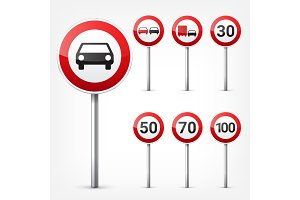 Road signs collection isolated on white background. Road traffic control.Lane usage.Stop and yield. Regulatory signs.Speed limit.