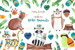 Boho animals clipart+patterns