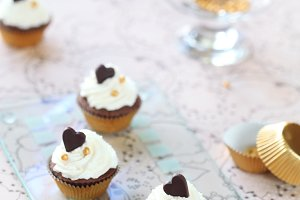 Chocolate Vanilla Mini Cupcakes