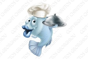 Cartoon chef fish and cloche