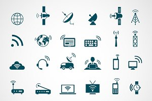 Antenna and wireless technology icon