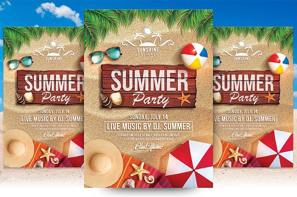 Summer party flyer template flyer templates creative market saigontimesfo