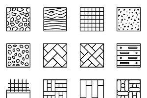 Floor material line vector icons