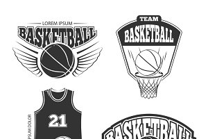 Vintage basketball vector logos set