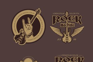 Rock and Roll vintage logos set