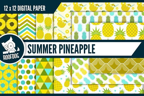 Summer pineapple digital paper