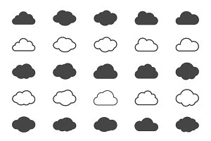Clouds shapes icons set