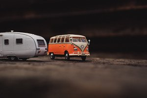Orange Model Bus and Caravan Trailer